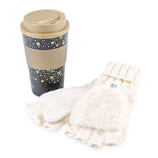totes Ladies Travel Mug & Glove Set Gold Stars & Cream