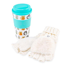 totes Ladies Travel Mug & Glove Set Multi Cats & Cream
