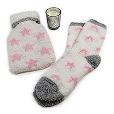 totes Ladies Star Hot Water Bottle, Socks & Candle Set