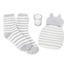 totes Ladies Mini Hotwater Bottle,Sock & Candle Set Grey