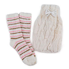 totes Ladies Furry Hot Water Bottle & Cosy Sock Set