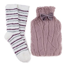 totes Ladies Furry Hotwater Bottle & Cosy Sock Set Mink