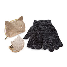 totes Ladies Cat Purse, Mirror & Glove Set