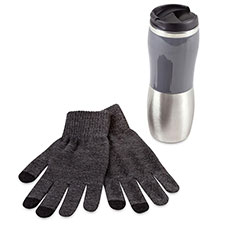 totes Mens Travel Flask & Glove Set Grey