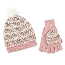 totes Ladies Fair Isle Cable Hat & Glove Set Pink Multi