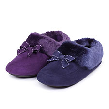 Isotoner Ladies Closed Back Slippers With Fur Trim