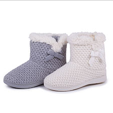 Isotoner Ladies Lurex Knit Boot Slippers