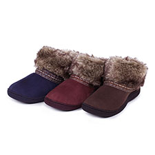 Isotoner Ladies Woodland Boot Slippers With Fur Cuff