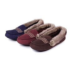 Isotoner Ladies Moccasin Slippers with Fur Cuff