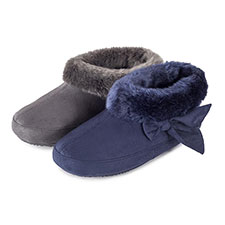 Isotoner Ladies Suedette Bootie with Fur Cuff Slippers