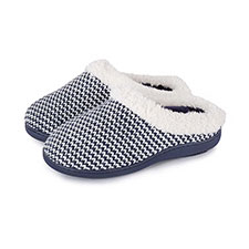 Isotoner Ladies Knitted Swept Back Mule Slippers with Fur Cuff