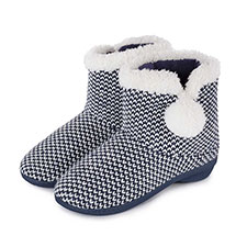 Isotoner Ladies Knitted Bootie Slippers with Pom Pom