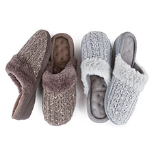 Isotoner Ladies Sparkle Knit Pillowstep Mule Slippers