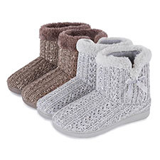 Isotoner Ladies Sparkle Knit Pillowstep Bootie Slippers
