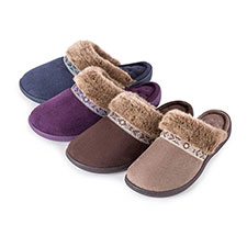 Isotoner Ladies Pillowstep Mule Slippers with Fur Cuff