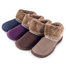 Isotoner Ladies Pillowstep Bootie Slippers with Fur Cuff