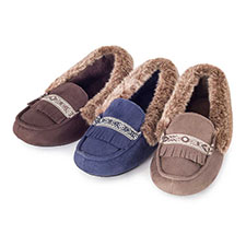 Isotoner Ladies Pillowstep Moccasin Slippers with Fur Cuff