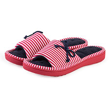 Isotoner Ladies Red & White Stripe Open Toe Slipper