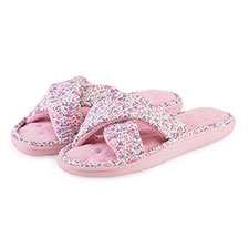 Isotoner Ladies Pink Floral Cross Strap Slipper