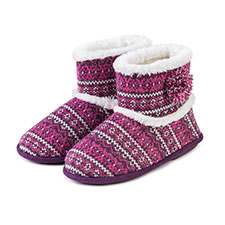 Isotoner Ladies Fair Isle Bootie With PV Fur