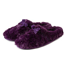 Isotoner Ladies Fur Mule With Velvet Ribbon