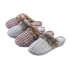 Isotoner Ladies Sparkle Knit Mules with Tipped Fur