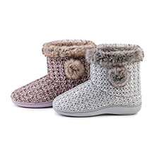 Isotoner Ladies Sparkle Knit Bootie With Tipped Fur