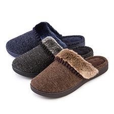 Isotoner Ladies Fine Knit Mules with Fur Cuff