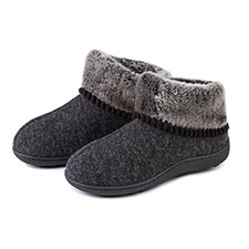 Isotoner Ladies Fine Knit Bootie With Fur Cuff