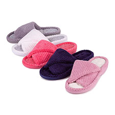 Isotoner Ladies Popcorn Turnover Open Toe Slippers