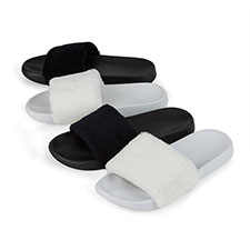 Isotoner Ladies PV Fur Slider Slippers