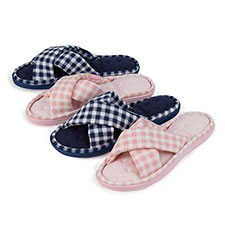Isotoner Ladies Jersey & Gingham Cross Front Slippers