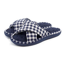 Isotoner Ladies Jersey & Gingham Cross Front Slipper