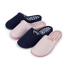 Isotoner Ladies Pillowstep Mule with Gingham Slippers