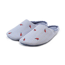 Isotoner Ladies Woven Stripe Mule with Embroidery Slippers