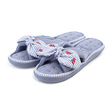 Isotoner Ladies Woven Stripe Knot Front with Embroidery Slippers
