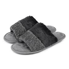 Isotoner Ladies Faux Fur Open Toe Slippers
