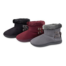 Isotoner Ladies Suedette Booties with Folk Tape