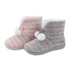 Isotoner Ladies Chenille Booties with Pom Pom