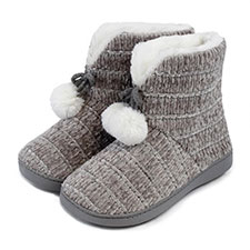 3d705327cca8b7 Isotoner Ladies Chenille Booties with Pom Pom