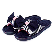 Isotoner Ladies Nautical Stripe Open Toe Slippers