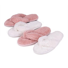 Isotoner Ladies Fluffy Toe Post Slipper