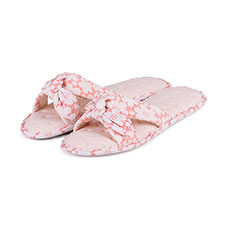 Isotoner Ladies Floral Knot Front Open Toe Slippers