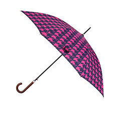 totes Auto Walker Wood Handle Pink & Navy Dogtooth Print Umbrella