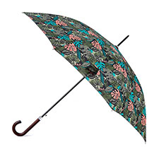 totes Jungle Leaf Print Auto Walker Umbrella with Wood Handle