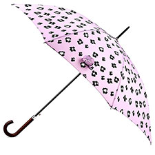 totes Pink Ikat Print Auto Walker Umbrella with Wood Handle