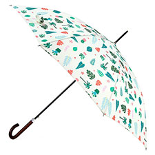 totes Tropical Print Auto Walker Umbrella with Wood Handle