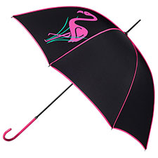 totes Ladies Elegant Walker Flamingo Print Umbrella