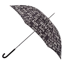 totes Elegant Walker Rain Text Print Umbrella