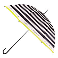 totes Ladies Elegant Charcoal & Cream Stripe Walker Umbrella